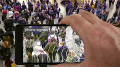 Augmented reality view of phone signals. Stock Footage
