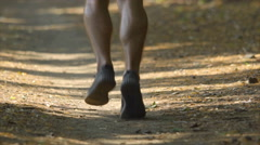 The sportsman run in the beatiful forest. Slow motion. Super telephoto lens Stock Footage