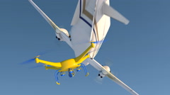 UAV drone and small plane narrowly avoiding a mid-air collision, 3D animation Stock Footage
