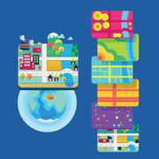 GIS Concept Data Layers for Infographic - stock illustration