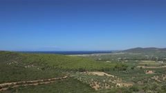 View of the Sithonia peninsula with agricultural fields. Chalcidice, Greece Stock Footage