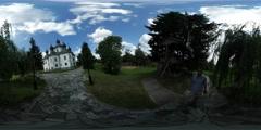 360Vr Video Man Filming Courtyard of Monastery Plyasheva Berestetskaya Battle Stock Footage