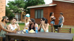 People having drinks and snacks at the picnic Stock Footage