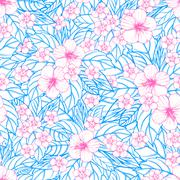 Summer colorful hawaiian seamless pattern with tropical plants and hibiscus Stock Illustration