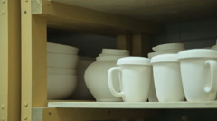 White ceramic tableware Stock Footage