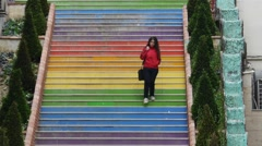 Stairs with colorful stairs Stock Footage