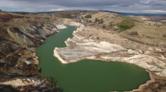 Aerial view of Blue Lake in Saint Bathans, Central Otago, New Zealand Stock Footage
