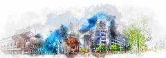 Eindhoven city center. Netherlands - stock illustration