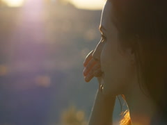 Close up portrait of woman professional dancer posing at sunset Stock Footage