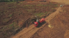 RUSSIA ST.PETERBURG-  Aerial view of a ground construction site with Stock Footage