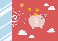 Piggy bank jump and broke glass window Stock Illustration