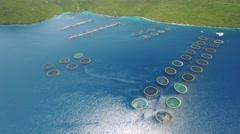 Aerial view of fish farm near the island of Dugi otok - stock footage