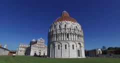 Tourists visit the Baptistery and the Cathedral, Pisa. - stock footage