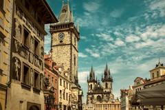 One of the famous popular travel place in world - Prague under s Stock Photos