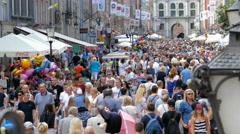 Crowds of people in Gdansk, Poland Stock Footage