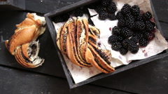 Fresh blackberries and Rustic bread, breakfast or lunch concept Stock Footage