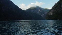 Beautiful Landscape of Fjord - Large River Surrounded by Large Steep Mountains Stock Footage