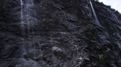 Shot of Rocky Mountains Covered with Waterfalls. Stock Footage