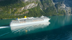Aerial Shot of River Cruise Ship Traveling in Sunny Day. Mountains on Background - stock footage