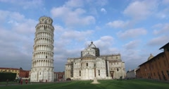 Tourists visit the leaning Tower and the Cathedral, Pisa. - stock footage