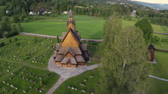 Aerial Shot of Heddal Stave Church in Norway Stock Footage