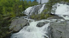 Aerial Shot of Rapids and Cascades of River in Norway - stock footage