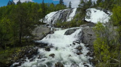 Aerial Shot of Rapids and Cascades of River in Norway Stock Footage