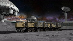 Moon rover on the moon. space expedition. moon surface. realistic 3d animation Stock Footage