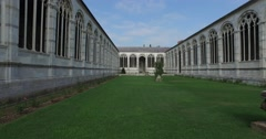 The monumental cemetery's Interior courtyard, Pisa. Stock Footage