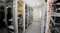 Server Room units, data center terminals with cables, wires - stock footage