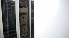 Server Room units, data center terminals with cables, wires Stock Footage