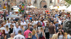Crowds of people in Gdansk during St. Domic Fair Stock Footage