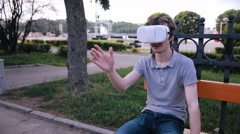 Young man in 360 VR glasses. Virtual reality glasses Stock Footage