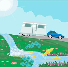 Camping over waterfall Stock Illustration