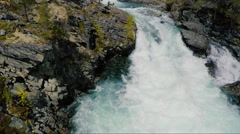 Aerial Shot River Rapids in Bright Sunny Day Stock Footage