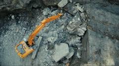 D 16 18 70 Aerial shot of Working Excavator Crushing Rocks Stock Footage