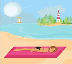 summer beach girl - stock illustration
