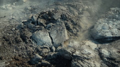 Aerial Shot of Destructed Ground and Rocks after Mining Explosion Stock Footage