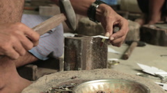 Artisan Worker in Workshop in Mandalay Burma (Myanmar) Stock Footage