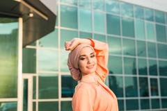 Portrait of a beautiful Arabian Woman wearing Hijab, Muslim girl - stock photo