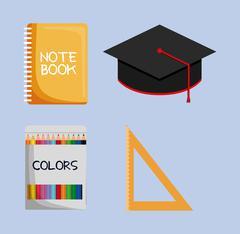 Notebook graduation cap colors ruler icon - stock illustration