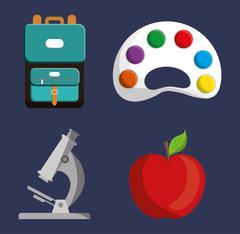 Palette microscope apple bag icon Stock Illustration
