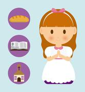 girl kid cartoon bread bible church icon. Vector graphic - stock illustration