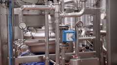 Modern technological industrial equipment. Pipelines, pumps, filters, gauges - stock footage