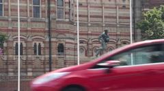 William Webb Ellis statue, Rugby, Warwickshire, UK Stock Footage