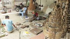 Craftsmen Making Hti in Small Workshop in Mandalay Burma (Myanmar) - stock footage