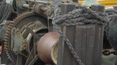 A metal motor inside the ship vessel Stock Footage