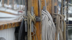 The ropes on the wooden pole in the ship Stock Footage