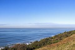 Vgetation and Distant Ocean and Blue Coastal Skyline Stock Photos