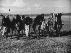 Wide shot of natives doing a tribal war dance in field, 1940s Stock Footage